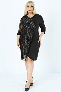 Kadın Büyük Beden Pul Payet Işlemeli, Sırt Fermuarlı Likralı Dokuma Kumaş Abiye Elbise