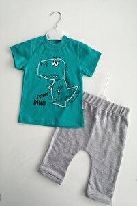 Erkek Bebek Yeşil Renk Dinozor Baskılı 100% Pamuk Alt Üst Takım