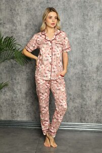 Kadın Gül Kurusu Flower Desen Kısa Kollu Pijama Takımı