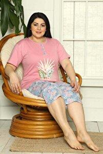 Kadın Çiçek Desenli Kaprili Büyük Beden Pijama Takımı