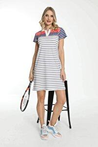 Kadın Beyaz Kısa Kollu Yakalı Elbise