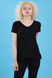 Kadın V Yaka Basic Kısa Kollu Tam Kalıp Siyah T-shirt