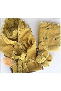 Toplu Ayılar Erkek Bebek Bornoz Seti - Sarı