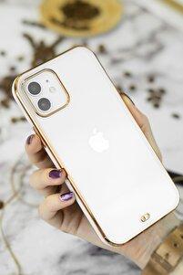 Iphone 11 Beyaz Gold Kenarlı Liva Telefon Kılıfı
