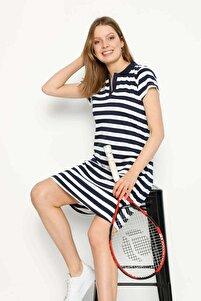 Lacivert Kısa Kollu Yakalı Elbise Koyu