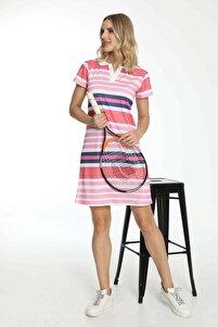 Kısa Kollu Yakalı Elbise Pembe