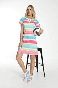 Kadın Mavi Kısa Kollu Yakalı Elbise