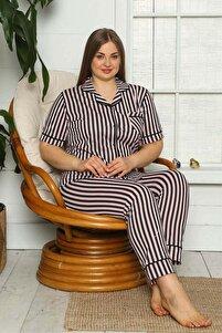 Kadın Kısa Kollu Düğmeli Büyük Beden Pijama Takımı