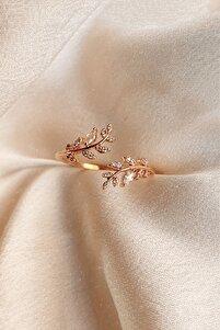 14k Rose Gold Kaplama Akasya Çiçeği Kadın Yüzük
