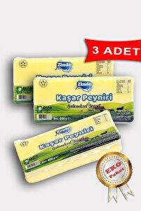 Zinde Kaşar Peyniri Yarım Yağlı 600 Gr (3 Adet) Eko Paket