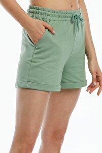 Kadın Yeşil Kısa Penye Şort