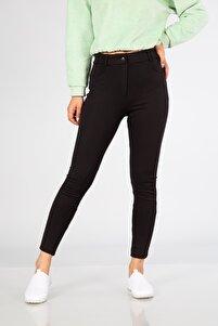Kadın Siyah Düğmeli Tayt Pantolon