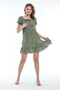 Kadın Haki Lastikli Kısa Yazlık Elbise