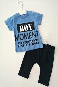 Erkek Bebek Mavi Renk Boy Moment Baskılı 100% Pamuk Alt Üst Takım