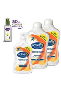 Antibakteriyel Sıvı Sabun Aktif 1,5+1,5+700ml 50 ml Duru Kolonya