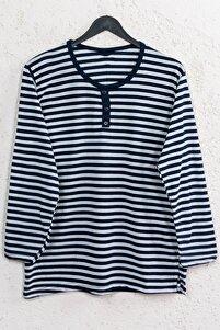 Kadın Lacivert Büyük Beden Çizgili Pamuklu Düğmeli Bluz
