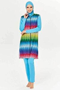 Kadın Turkuaz Renkli Petek Tam Tesettür Mayo