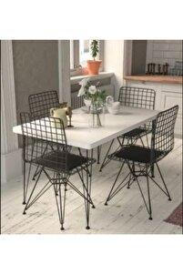 Beyaz Tel Masa Sandalye Takımı