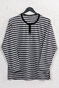Kadın Siyah Çizgili Pamuklu Düğmeli Bluz