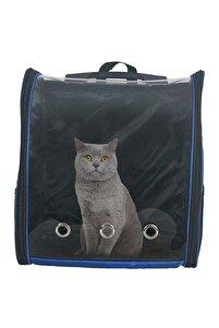 Kedi Çantası Mavi Kedi Taşıma Seyahat Sırt Evcil Hayvan Çantası Büyük Boy Şeffaf Astronot Delikli