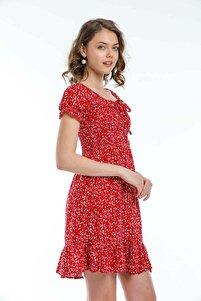 Kadın Kırmızı Lastikli Kısa Yazlık Elbise