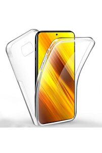 Xiaomi Poco X3 Pro 360 Derece Şeffaf Silikon Kılıf Komple Koruma