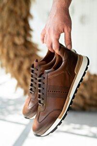Erkek Taba Hakiki Deri Sneaker Ayakkabı