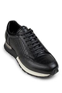 Hakiki Deri Siyah Spor Erkek Sneaker 01632MSYHT02