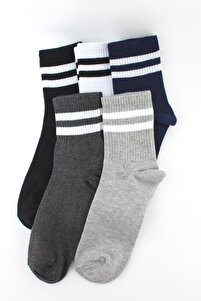 5'li Paket Beyaz Çizgili Farklı Renklerde Yarım Konç Erkek Kadın Unisex Çorap