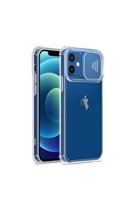 Iphone 11 Uyumlu Slayt Kamera Lens Korumalı Komple Şeffaf Telefon Kılıfı