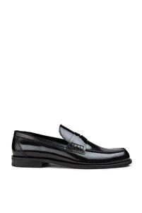 Erkek Siyah Deri Siyah Mokasen Ayakkabı