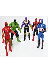 Thanos Örümcek Adam Ironman Hulk Oyuncak Işıklı 5li Set 15 Cm