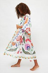 Ekru Çiçek Baskılı Vual Kimono&Kaftan TBESS21KM0086