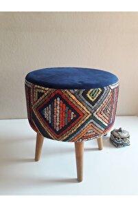 Gürgen Retro Ahşap Ayaklı Dekoratif Etnik Üst Lacivert Desenli Silindir Puf Bench Koltuk Sandalye