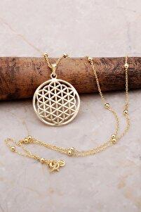 Yaşam Çiçeği Altın Yaldızlı Dorica Gümüş Kolye 6899
