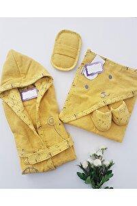 Erkek Sarı Pamuk Toplu Ayılar Bornoz Seti
