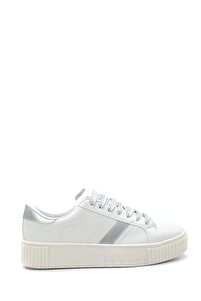 Kadın Beyaz Renkli Bağcıklı Şerit Detaylı Sneaker
