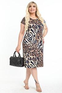 Kadın Kahverengi Büyük Beden Leopar Desenli Kısa Kollu Diz Altı Elbise