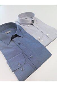 Erkek Gömlek 2'li Gri - Mavi