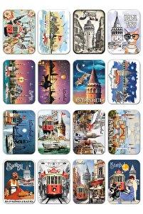 16 Adet Simli Kabartmalı Kartpostal Özel Istanbul Tasarımları