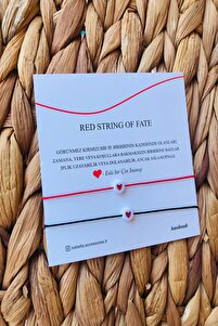 Kırmızı Red String Ip - Kalp Objeli Arkadaş Bilekliği