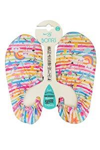 Kız Çocuk Renkli Gökkuşağı Kaymaz Taban Havuz ve Deniz Ayakkabısı