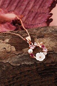 Orkide ve Renkli Taşlı 14 K Rose Altın Kaplama Kadın Kolye