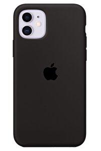 Iphone 11 Kılıf Logolu Lansman Altı Kapalı Içi Süet - Siyah + Popsocket