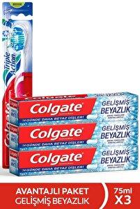 Gelişmiş Beyazlık Beyazlatıcı Diş Macunu 3 X 75 Ml + Üçlü Etki Diş Fırçası
