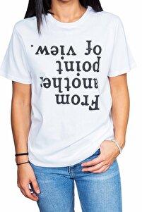 Kadın Beyaz  Point Yazılı T-shirt