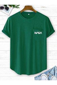 Erkek Yeşil Nasa Baskılı Tshirt
