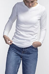 Ruby Slim Fit Beyaz Basic Sweatshirt