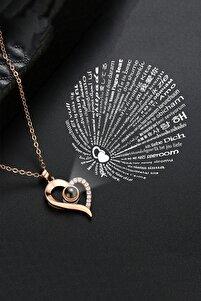 100 Dilde Seni Seviyorum Yazılı 14k Rose Gold Kaplama Kadın Kolye