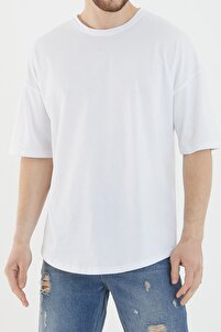 Erkek Oversize Basic Tişört Beyaz